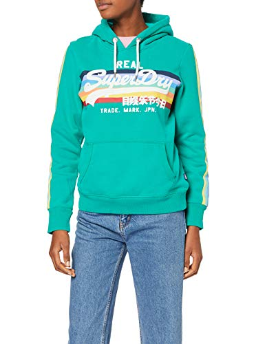 Superdry V Logo Retro Rainbow Entry Hood Sweat-Shirt À Capuche, Vert (Summer Green Dkm), Medium (Taille Fabricant: 12) Femme