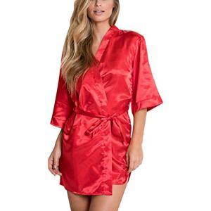 VECOLE Bouton Robe de Chambre pour Femme en Satin de Soie Kimono pour Femme Costume de Nuit Robe de Bain Vêtements de Nuit pour Femme Col en V Automne Couleur Unie Pyjama(Rouge,XL)