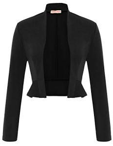 Veste Chic Femme Haussement Manches Longues Noir M BP794