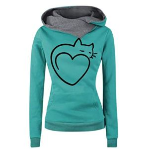 Veste Pull Femme Long À Capuche Pullover Imprimé Chat Et Forme De Coeur Sweat Manteau Sport Hoodie Noir/Bleu/Bleu Clair/Gris Bleu M