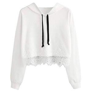 XYyj006 Pulls à Capuche for Femmes Dentelle Solide à Manches Longues Blanc Noir Sweat à Capuche Sweat-Shirts Court Blanc Pullover Tops Longs Chemise Sweats à Capuche et Chandails
