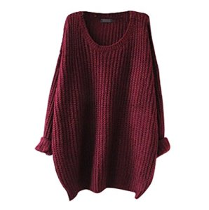 YouPue Casual Femmes Pull En Vrac Manches Longues Col Rond Section Mince Pull Sweater Casual Tricot Chandail Tops Blouse Automne Et Hiver Vin Rouge