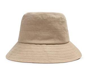 CHENNUO Couleur Unie Casquette Bob en Coton Capeline Femme été Pliable Anti-UV Loisirs Voyager Chapeau de Soleil (Beige)