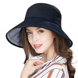 Comhats Chapeau de Pluie imperméable à Large Bord avec Sangle au Menton réglable – Bleu – Medium