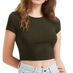 feiXIANG Top Femme Blouse Haut T-Shirts Manches Courte Col Rond Crop Top Ajustée ÉTE Sexy Chic Tops Blouse