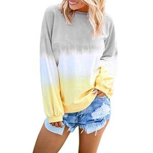FOTBIMK T Shirt Femme Manche Longue,Pullover Femme-Gradient Contraste Couleur -Col en V-Sweatshir Casual Femme Haut Dégradé Gris XL