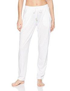 HANRO Women's Sleep and Lounge Knit Long Pant, White, Small