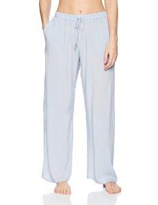 HANRO Women's Sleep and Lounge Woven Long Pant, Clean Blue, Medium