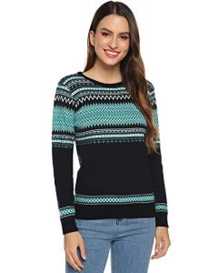 Hawiton Pull Femme Noël Tricot Col Rond Manches Longues Casual Automne Hiver Rudolph Le Renne, Multicolore, L