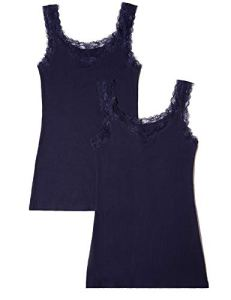 Iris & Lilly Basic Stretch Maillot De Corps, Bleu (Navy), Small, Lot de 2