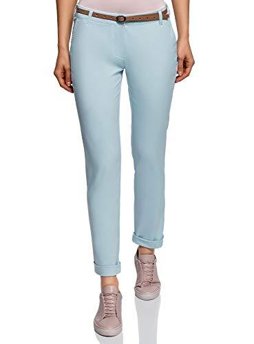 oodji Ultra Femme Pantalon Chino avec Ceinture, Bleu, FR 44 / XL