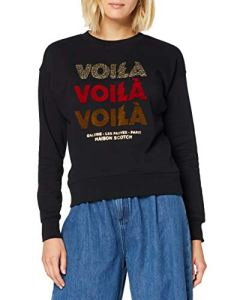 Scotch & Soda Maison Sweat with Terry and Artwork Shirt, (Black 08), Small Femme
