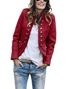 Tomwell Veste De Costume Femme Blazer à Manches Longues Slim Fit Veste de Tailleur Bouton Élégant Casual Business Soirée Revers Manteau Vin Rouge 40