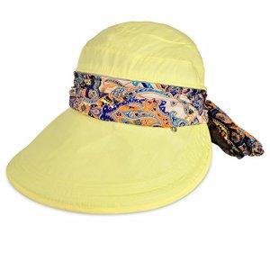 Vbiger Casquette à Visière Anti-soleil Pliable Détachable Zippé pour Eté (Jaune)