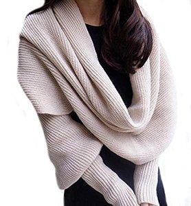 Butterme – Cape polaire avec manches, en tricot couleur unie – Pour homme et femme, BUT00038MW, beige
