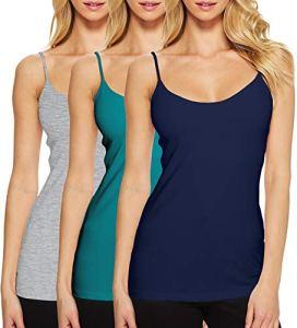 Caraco Femme Coton Cami Camisole Basique Gilet Sport Yoga Gym Fines Bretelles Réglables Gris+Bleu Foncé+Turquoise FR36 (Taille Fabricant M)