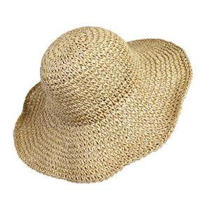 Chapeau de paille de femmes Plage Bonnet de soleil Pliable Grande Dame Disquette De Papier Tresse Large Bord Pour Voyage Décoration Décoration Vacances D'été Beige