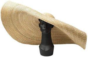 CXHMYC Chapeau de Plage d'été Dames Large Bord Soleil Chapeaux Femmes Chapeau de Paille Soleil étape scène Spectacle concave Forme Plage Grande Le Long de la Paille