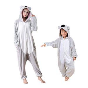 DEBAIJIA Enfant Pyjamas Animal en Flanelle Jumpsuit Garçons Filles Vêtements De Nuit Chaud Onesie,Koala Gris,115(Hauteur recommandée: 120-130cm) Étiquette:130