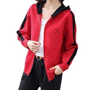 IMJONO Manteau Femme Printemps Mode CardiganFemme Pas Cher Lettre Impression Encapuchonné Manche LongueChemisier Manteau Femme Hiver Manteau de Sport (Rouge,XXXL