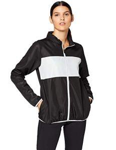 Iris & Lilly Blouson de Sport en Taffetas Bloc Contrastant Femme, Noir (Black/light Grey), Medium