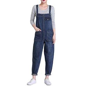 LAEMILIA Salopette Femme en Jeans Combinaison Grande Taille Bodysuit Pantalon Denim CasualBleuEU 38(Tour de taille86cm)