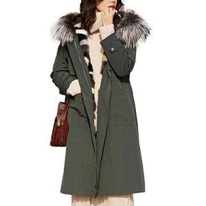 LOGYIO Manteau d'hiver Chaud à Capuchon Long pour Femmes avec Doublure Amovible en Fausse Fourrure,M
