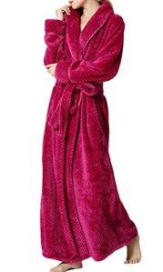 Nanxson(TM) Robe de Chambre Peignoir long Hiver en Flanelle Chaude pour Femmes Hommes SYW0069 (L, rose)