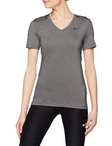 Nike W NK Top SS VCTY T-Shirt Femme, Gris (Carbon Heather/Cool Grey/Black 091), FR : L (Taille Fabricant : L)