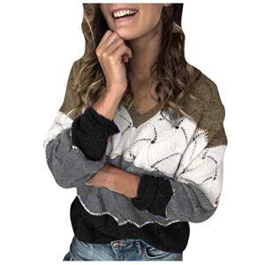 Pulls Femme Décontracté Bloc de Couleur Manches Longues Patchwork T-Shirt Col V en Vrac Tunique Tops Slim Chandail Efanhouy
