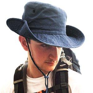 TOSKATOK® Anti UV UPF 50 + Bob Unisexe Style Australien en Coton à Bords Larges, Mentonnière, Boutons Pression sur Le Côté etOeillets