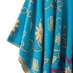 Urban GoCo Femmes Rétro Imprimé Châle Cape Manteau Tassel Poncho Cardigan (Bleu)