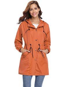 Veste de Pluie Femme Manteau Imperméable Poncho Pluie à Capuche Zippé Cape de Pluie Manches Longues Coup Vent Raincoat pour Voyage Camping Randonnée Vacance Unisexe, Orange, L