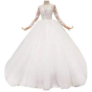 WFHhsxfh Robe de mariée coréenne Longue et Mince, Robe de Banquet, Robe Adulte Robe de mariée Blanche Robes de mariée pour la mariée (Size : US16w)