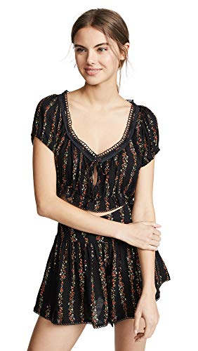 Free People Women's Wild Love Two-Piece Romper, Black Combo, Large