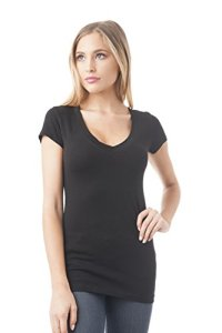 Hollywood Star Fashion T-Shirt à Manches Courtes et col en V pour Femme – Noir – Small