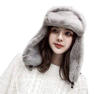 Landove Chapka Russe Femme Elegant Mode Casquette Fausse Fourrure pour Hiver Chaud Cache-Oreilles Ski Chapeau de Neige Bomber Bandeau Retro Cheveux Polaire Bonnet Beret