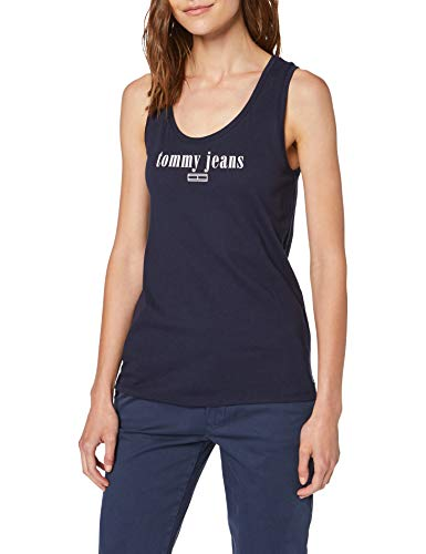 Tommy Jeans Femme Modern Logo Tank Pull Sans Manche Bleu (Black Iris Cbk) X-Small