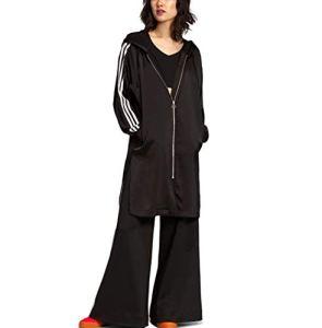 adidas Originals Veste à Capuche Longue en Satin zippée pour Femme – Noir – 38 FR Small