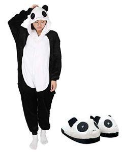 Adulte Kigurumi Pyjama Licorne Unisexe Anime Animal Costume Cosplay Combinaison Pyjama ou Déguisement (L, panda+chaussure)