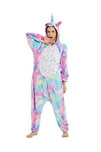 Adulte Onesie Costume Licorne Unisexe Pyjama Combinaison Animaux,Licorne d'Or,XL fit for Height 175-185CM (68.8po-72.8po)