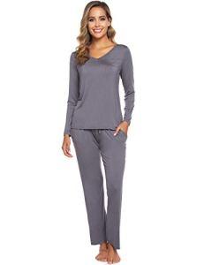 ARBLOVE Pyjama Femmes Hiver Coton Longue Pyjama Ensemble Haut et Bas Vêtement d'intérieur Femme, A-gris Foncé, L