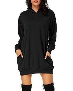 Auxo Femme Sweat à Capuche Longue Hoodie Casual Manches Longues Pull Chic Ample Haut Automne Hiver Sweat-Shirt, 02-noir, XL