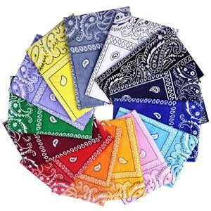 Awinker Lot de 14 Bandanas Fichu Mouchoir Unisexe Bandeau de Cheveux Echarpe de Cou Multicolore pour Homme et Femme (14 Couleurs)