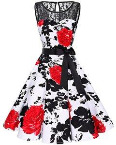 Bbonlinedress Vintage rétro 1950's Audrey Hepburn Robe de Soirée Cocktail sans Manches avec Dentelle année 50 Rockabilly Red Flower 3XL