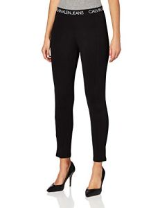 Calvin Klein Jeans Logo Elastic Milano Leggings Pantalons, CK Black, M Femme