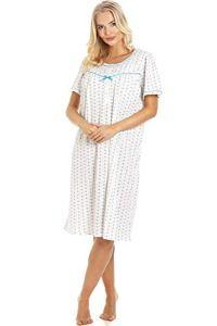 Camille Chemises de Nuit à Manches Courtes à Rayures Florales pour Femmes 46/48 Blue Bow