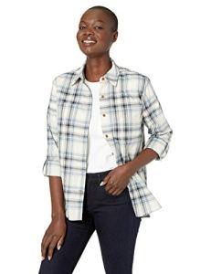 Carhartt Fairview Plaid Shirt Chemise Longue à Bouton d'utilité Professionnelle, Bleu Acier, XS Femme