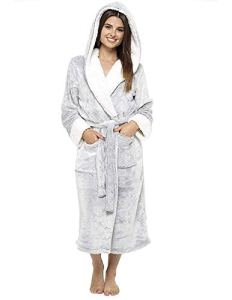 CityComfort® Luxury Dressing Gown Mesdames Robe Super Douce Avec Fourrure Doublée À Capuche En Peluche Peignoir Pour Les Femmes-Cadeau Parfait (L, Gris)