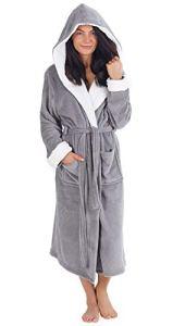 CityComfort Robe de Chambre de Doux Peignoir en Peluche Housecoat Waterfall Lounge Style Peignoir (XL, Gris Clair)